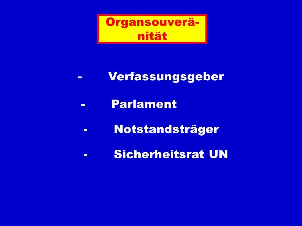 Organsouverä- nität - Verfassungsgeber - Parlament - Notstandsträger - Sicherheitsrat UN