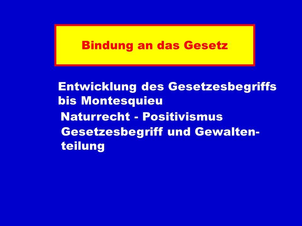 Bindung an das Gesetz Entwicklung des Gesetzesbegriffs. bis Montesquieu. Naturrecht - Positivismus.