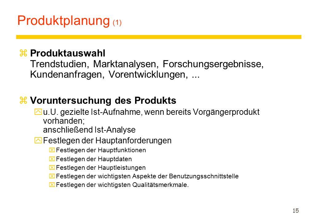 Produktplanung (1) Produktauswahl Trendstudien, Marktanalysen, Forschungsergebnisse, Kundenanfragen, Vorentwicklungen, ...