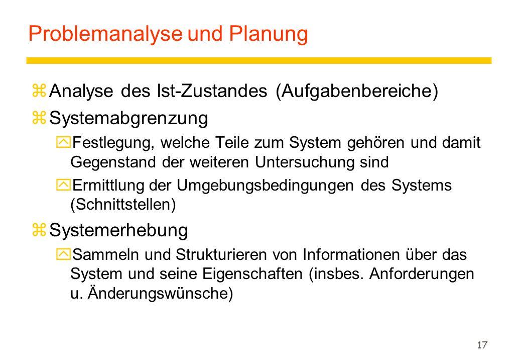 Problemanalyse und Planung