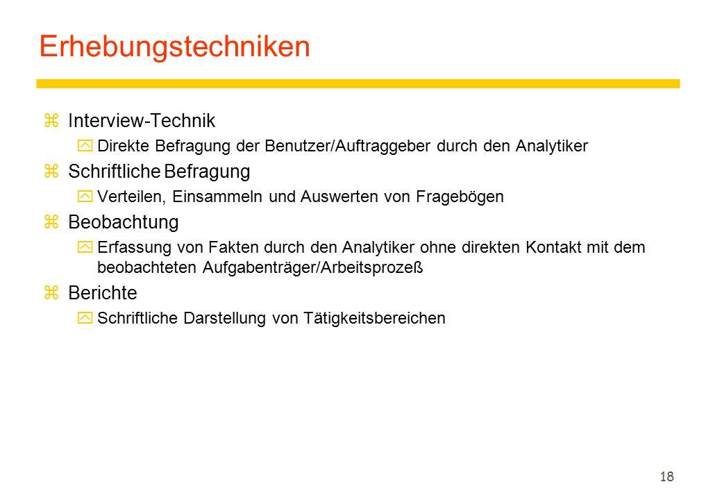 Erhebungstechniken Interview-Technik Schriftliche Befragung