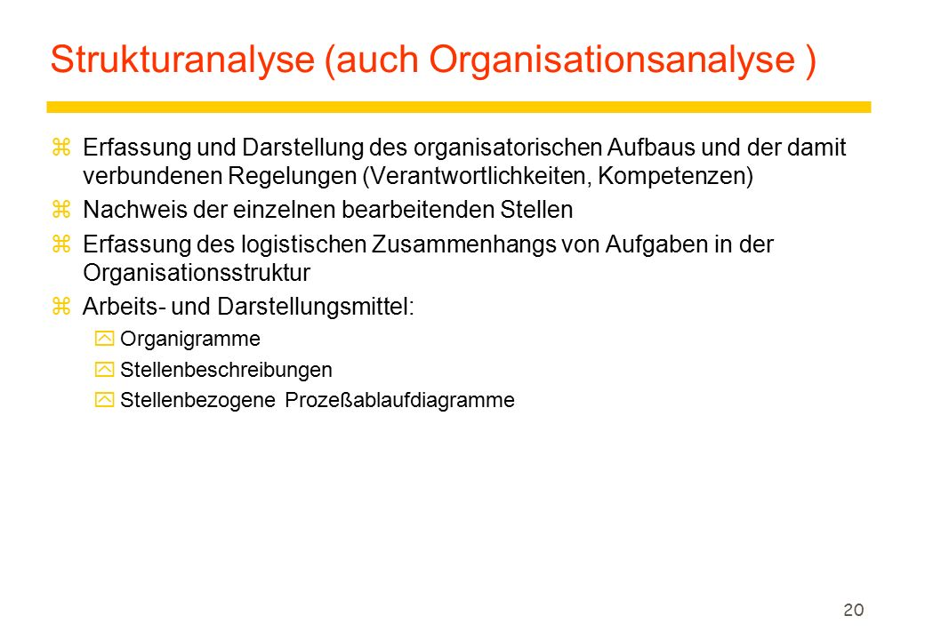 Strukturanalyse (auch Organisationsanalyse )