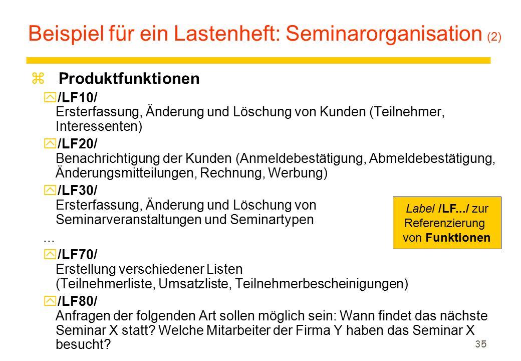Beispiel für ein Lastenheft: Seminarorganisation (2)