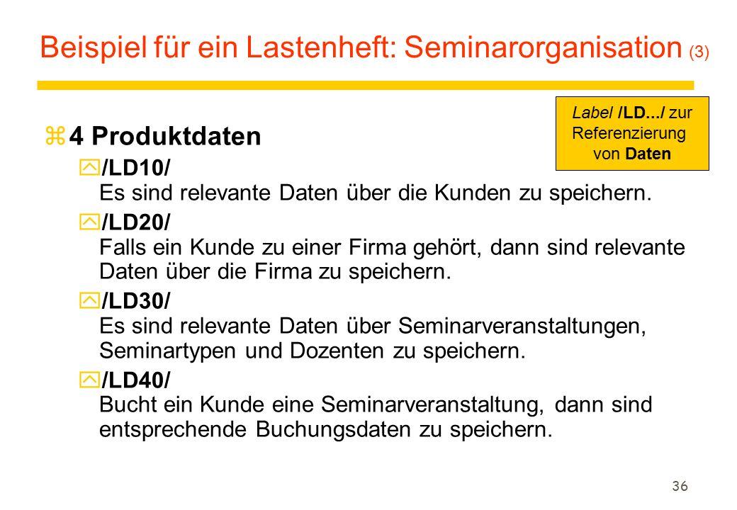 Beispiel für ein Lastenheft: Seminarorganisation (3)