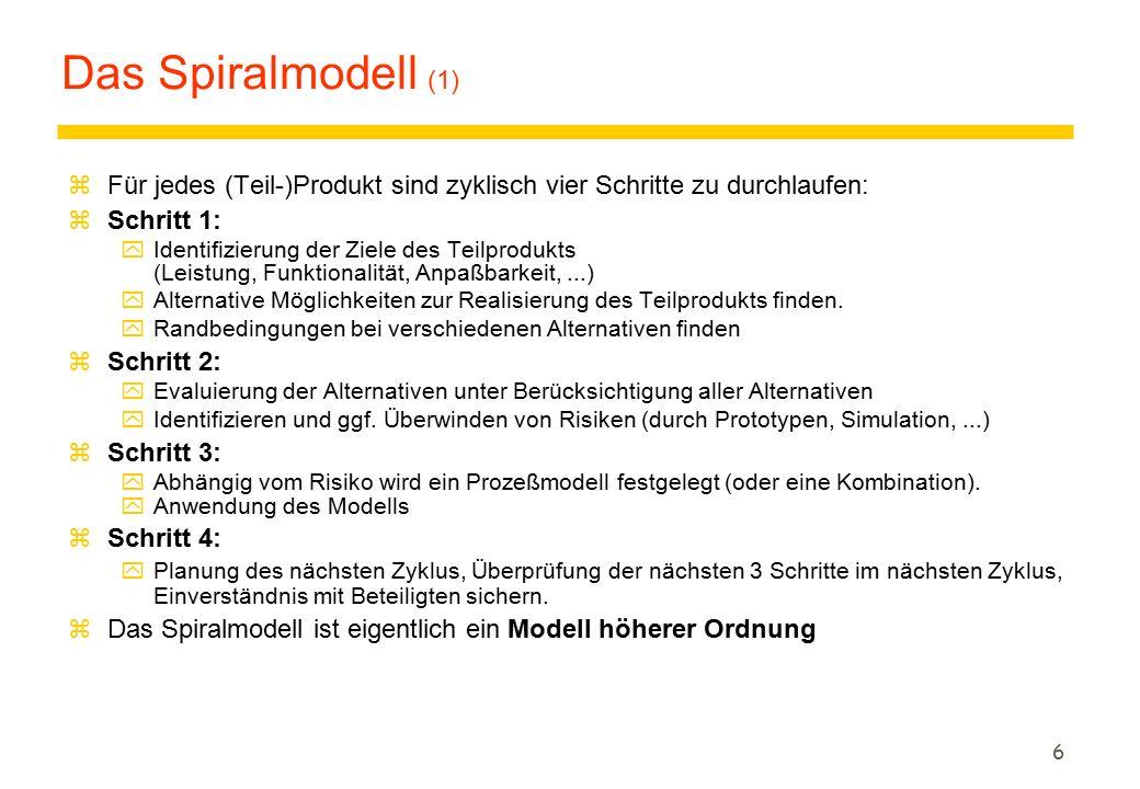 Das Spiralmodell (1) Für jedes (Teil-)Produkt sind zyklisch vier Schritte zu durchlaufen: Schritt 1: