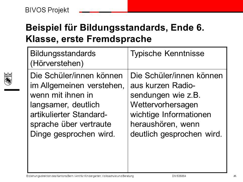 Beispiel für Bildungsstandards, Ende 6. Klasse, erste Fremdsprache