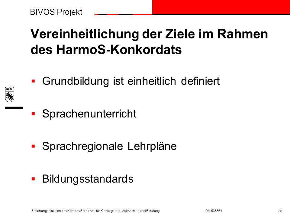 Vereinheitlichung der Ziele im Rahmen des HarmoS-Konkordats