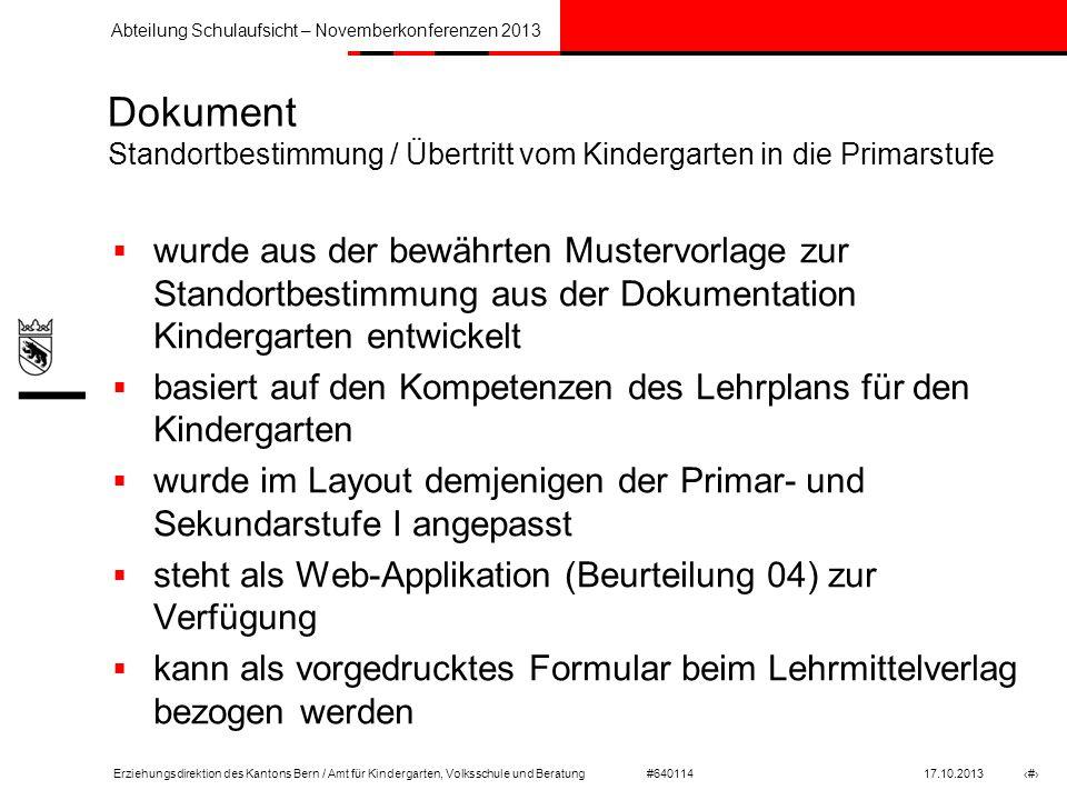 Dokument Standortbestimmung / Übertritt vom Kindergarten in die Primarstufe