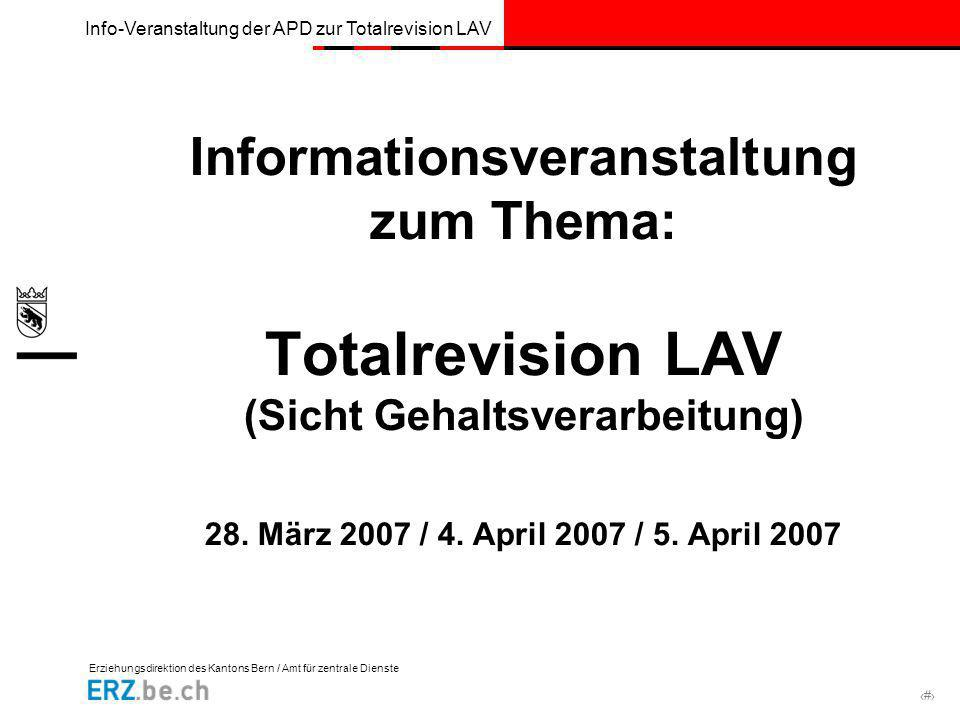Informationsveranstaltung zum Thema: Totalrevision LAV (Sicht Gehaltsverarbeitung) 28.