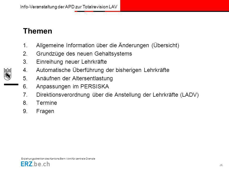 Themen Allgemeine Information über die Änderungen (Übersicht)