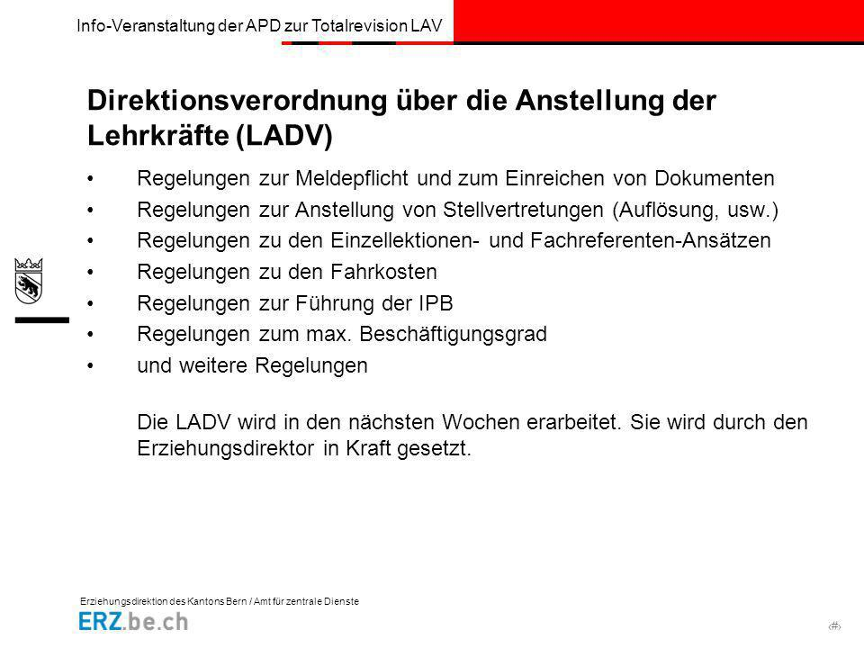 Direktionsverordnung über die Anstellung der Lehrkräfte (LADV)