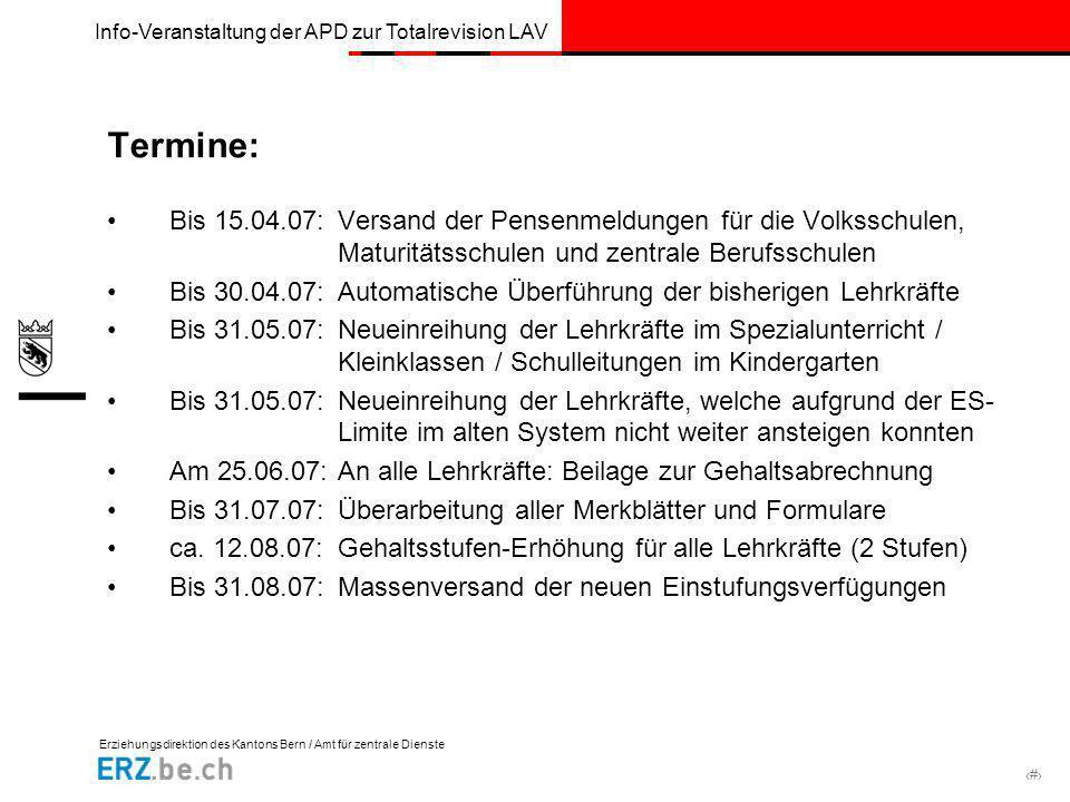 Termine: Bis 15.04.07: Versand der Pensenmeldungen für die Volksschulen, Maturitätsschulen und zentrale Berufsschulen.