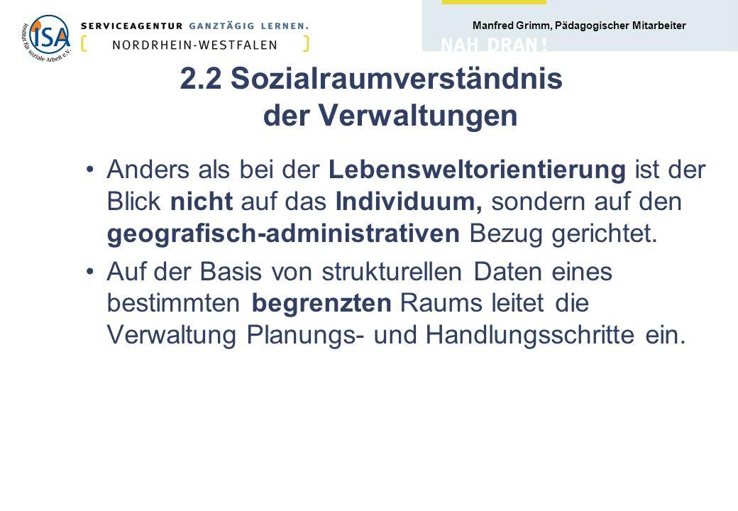 2.2 Sozialraumverständnis der Verwaltungen