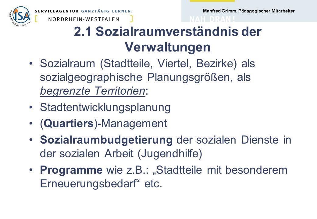 2.1 Sozialraumverständnis der Verwaltungen