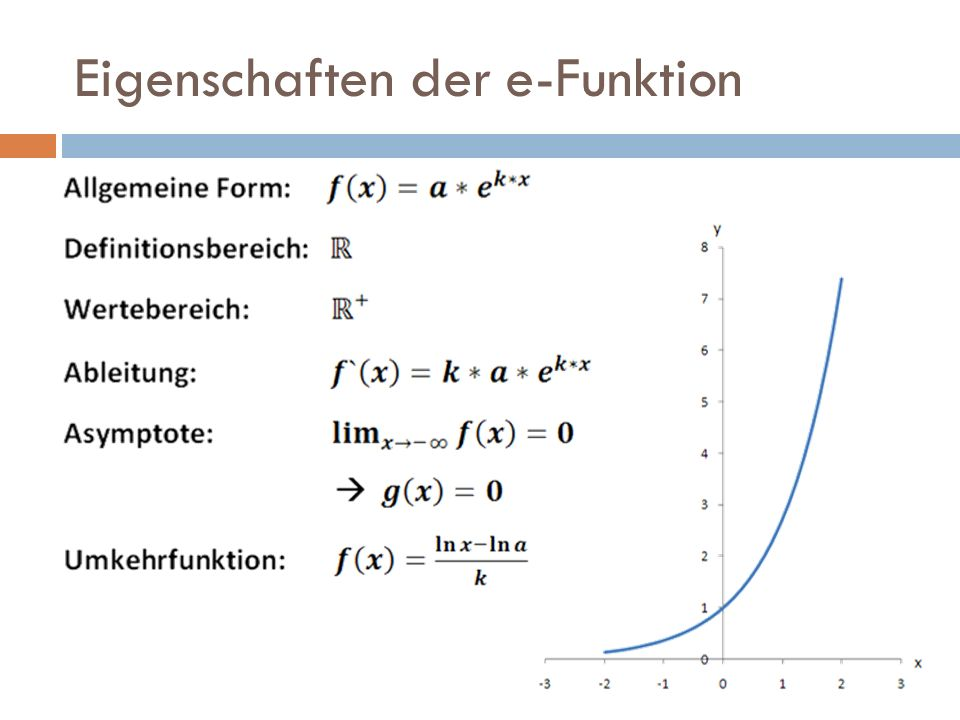 Eigenschaften der e-Funktion