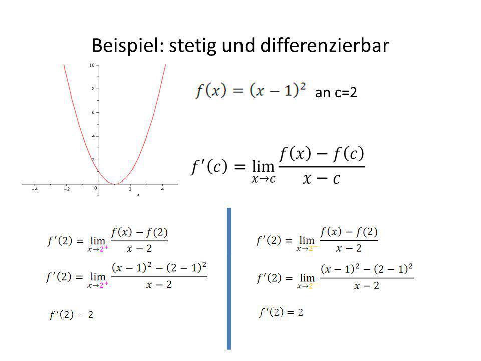Beispiel: stetig und differenzierbar