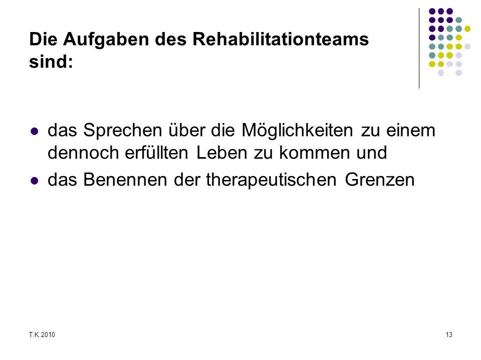 Die Aufgaben des Rehabilitationteams sind: