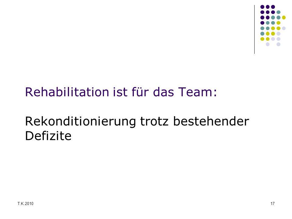 Rehabilitation ist für das Team: Rekonditionierung trotz bestehender Defizite