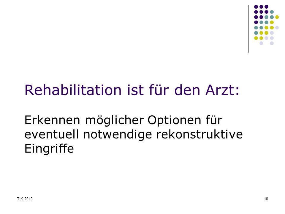 Rehabilitation ist für den Arzt: Erkennen möglicher Optionen für eventuell notwendige rekonstruktive Eingriffe