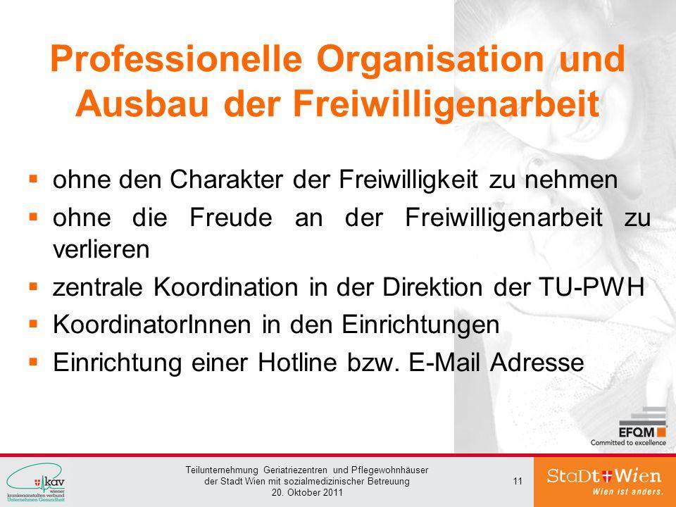 Professionelle Organisation und Ausbau der Freiwilligenarbeit