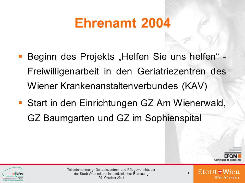 """Ehrenamt 2004 Beginn des Projekts """"Helfen Sie uns helfen - Freiwilligenarbeit in den Geriatriezentren des Wiener Krankenanstaltenverbundes (KAV)"""