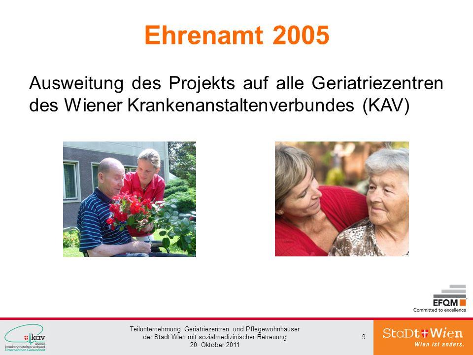 Ehrenamt 2005 Ausweitung des Projekts auf alle Geriatriezentren des Wiener Krankenanstaltenverbundes (KAV)
