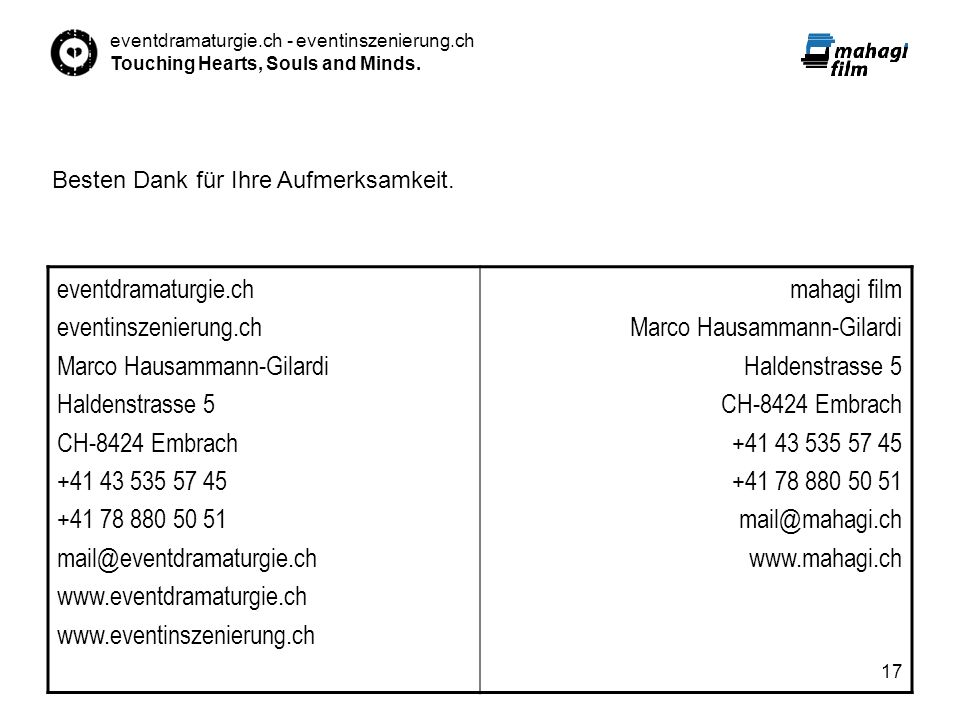 Marco Hausammann-Gilardi Haldenstrasse 5 CH-8424 Embrach