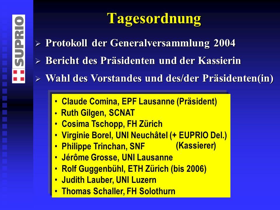 Tagesordnung Protokoll der Generalversammlung 2004