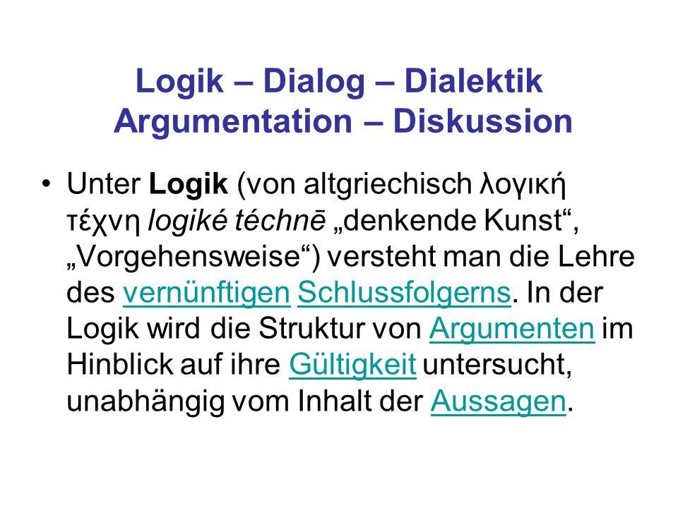 Logik – Dialog – Dialektik Argumentation – Diskussion