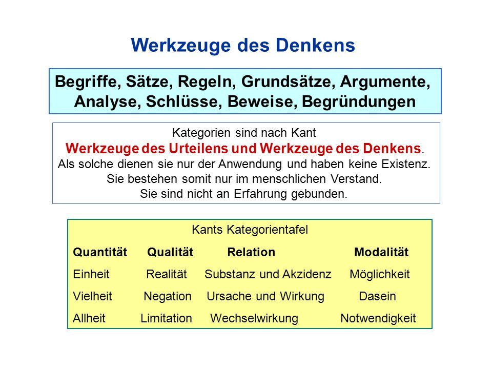 Werkzeuge des Denkens Begriffe, Sätze, Regeln, Grundsätze, Argumente,