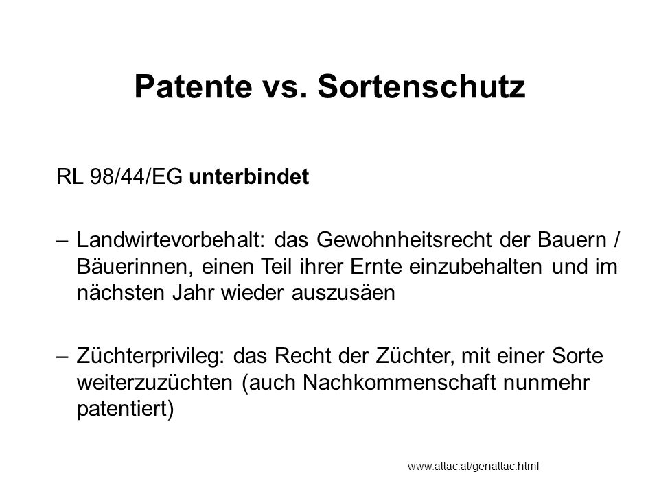 Patente vs. Sortenschutz