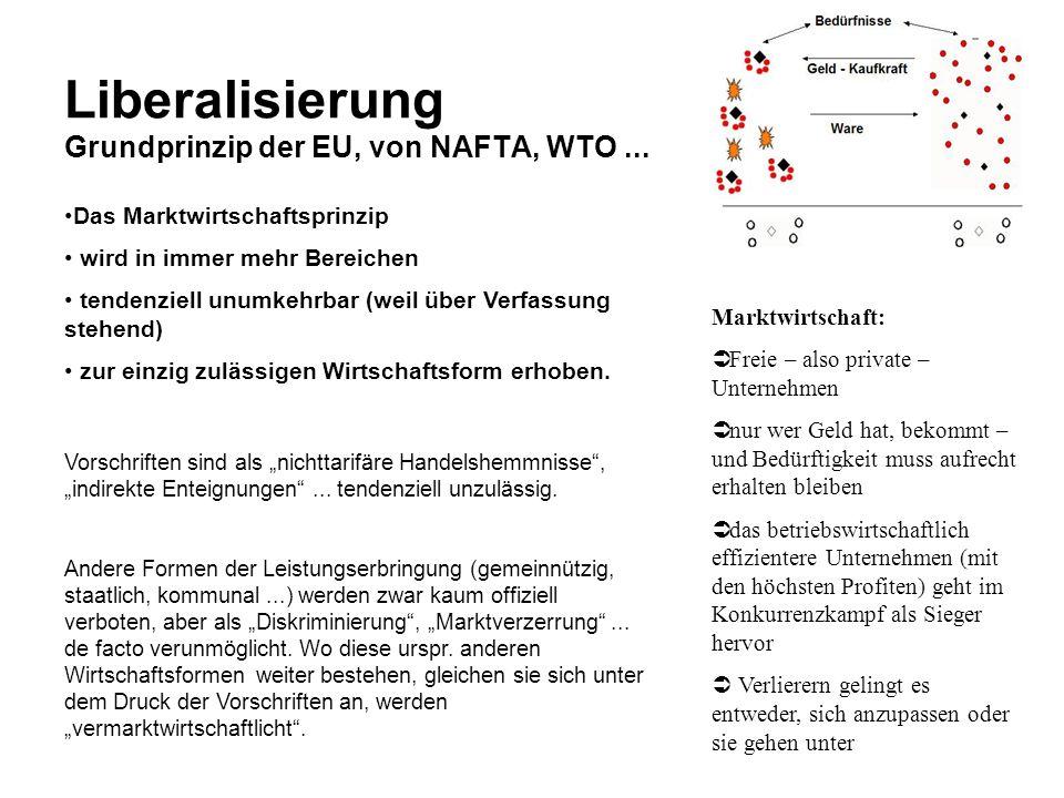 Liberalisierung Grundprinzip der EU, von NAFTA, WTO ...