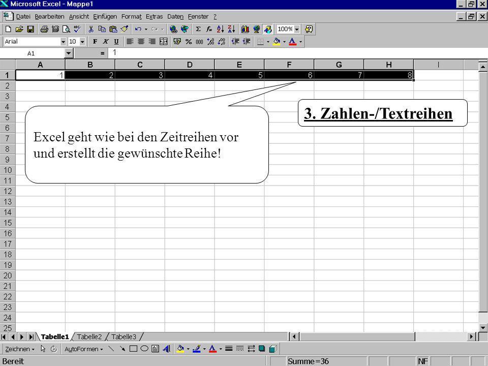 3. Zahlen-/Textreihen Excel geht wie bei den Zeitreihen vor und erstellt die gewünschte Reihe!