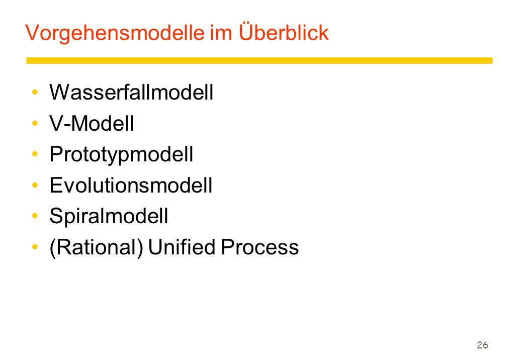 Vorgehensmodelle im Überblick