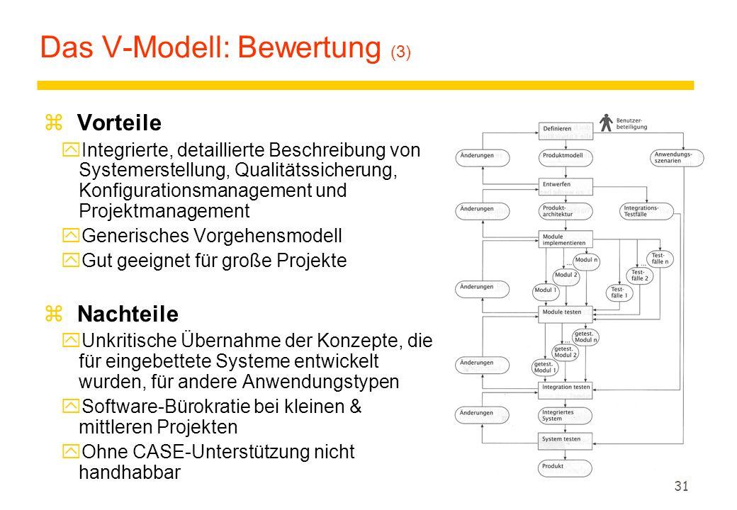 Das V-Modell: Bewertung (3)