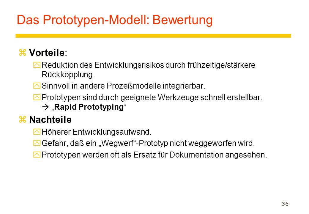 Das Prototypen-Modell: Bewertung