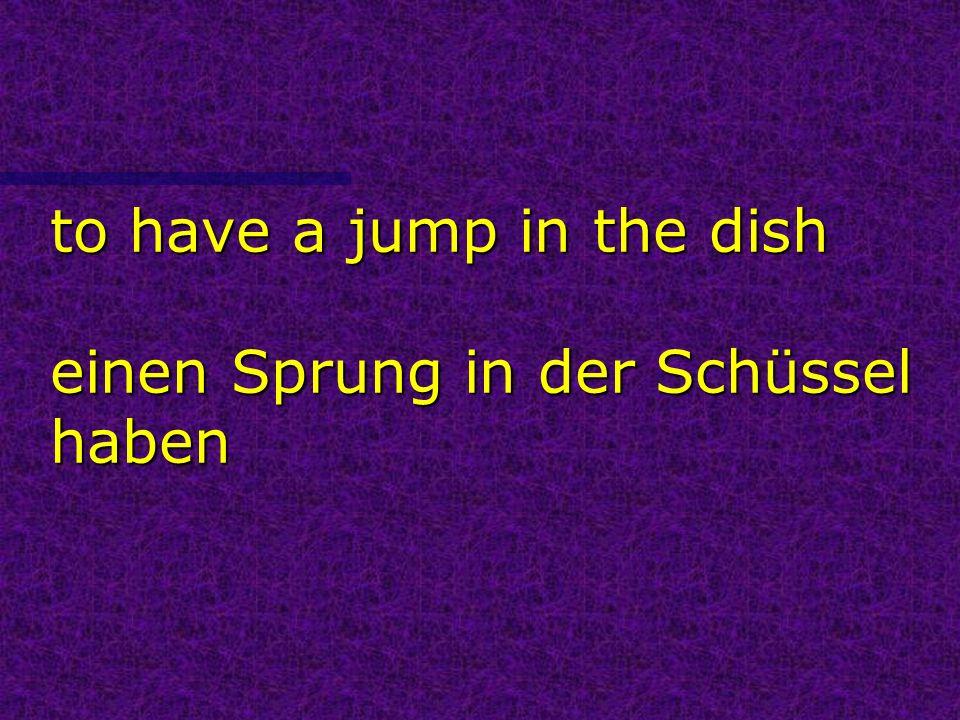 to have a jump in the dish einen Sprung in der Schüssel haben