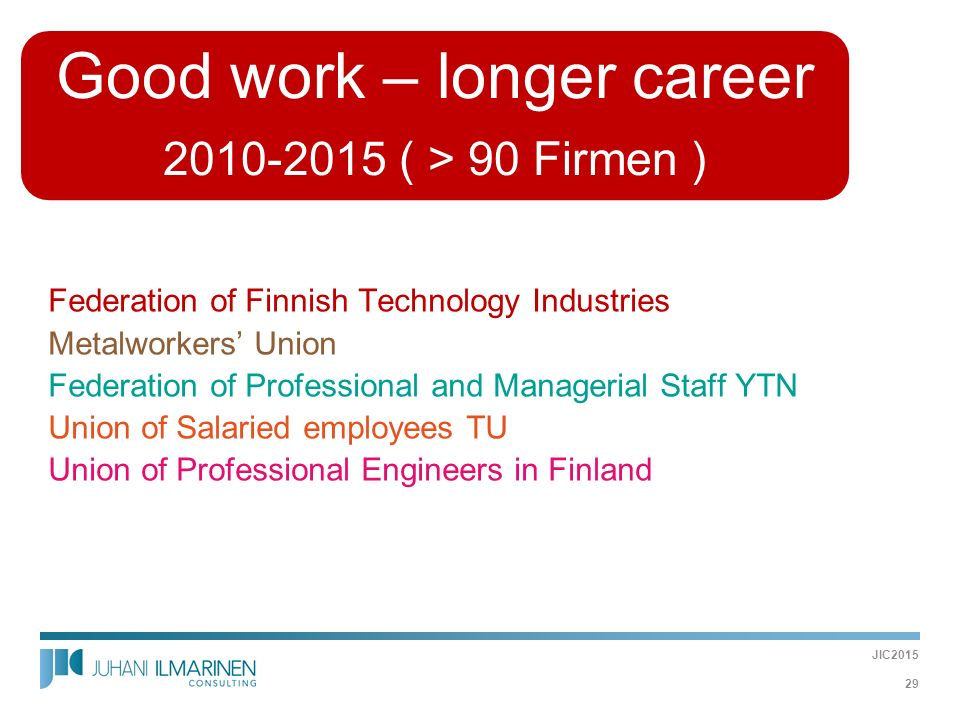 Good work – longer career