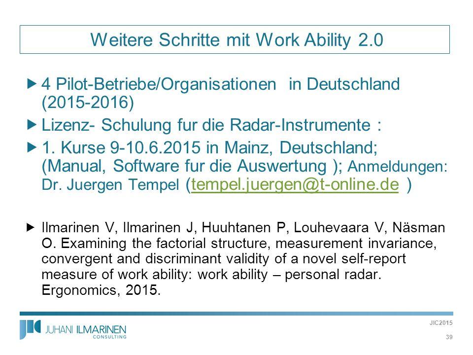 Weitere Schritte mit Work Ability 2.0