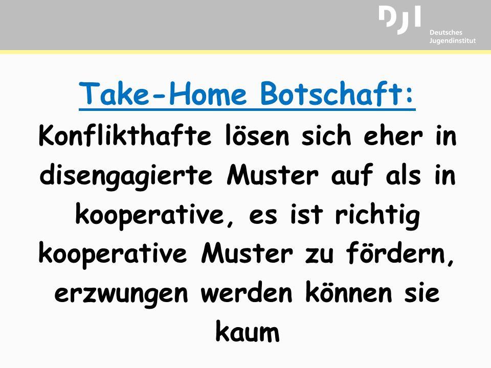 Take-Home Botschaft: Konflikthafte lösen sich eher in disengagierte Muster auf als in kooperative, es ist richtig kooperative Muster zu fördern, erzwungen werden können sie kaum