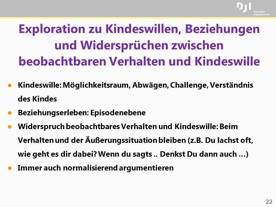 Exploration zu Kindeswillen, Beziehungen und Widersprüchen zwischen beobachtbaren Verhalten und Kindeswille