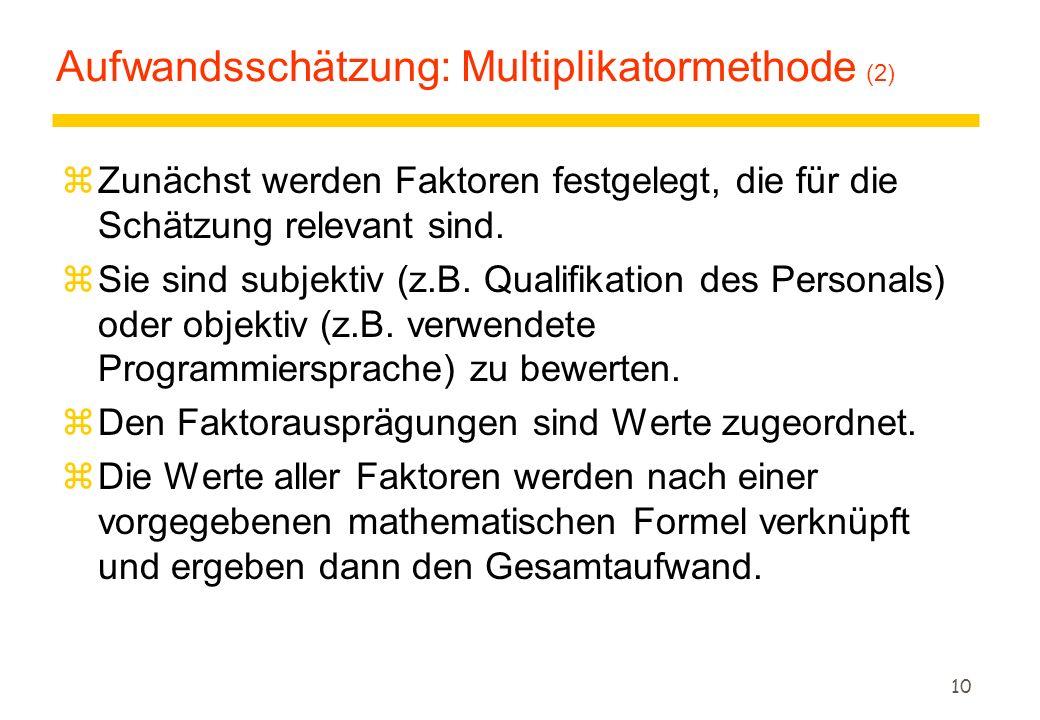 Aufwandsschätzung: Multiplikatormethode (2)