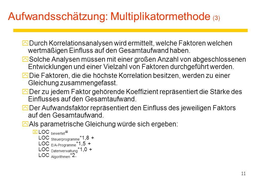 Aufwandsschätzung: Multiplikatormethode (3)