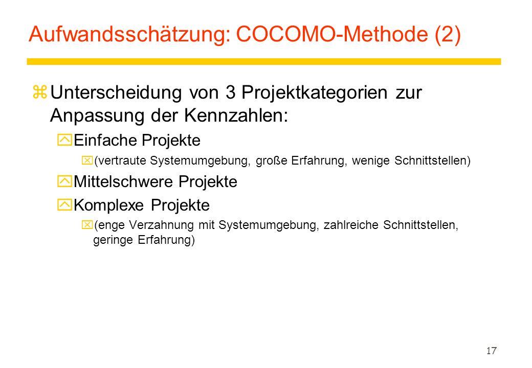 Aufwandsschätzung: COCOMO-Methode (2)