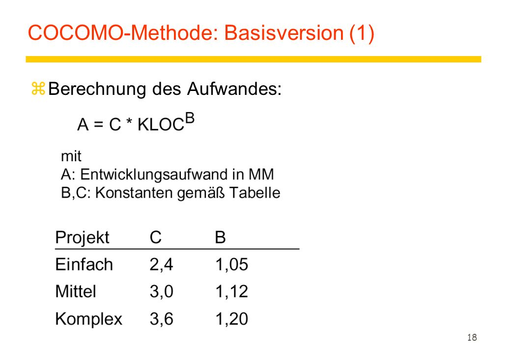 COCOMO-Methode: Basisversion (1)