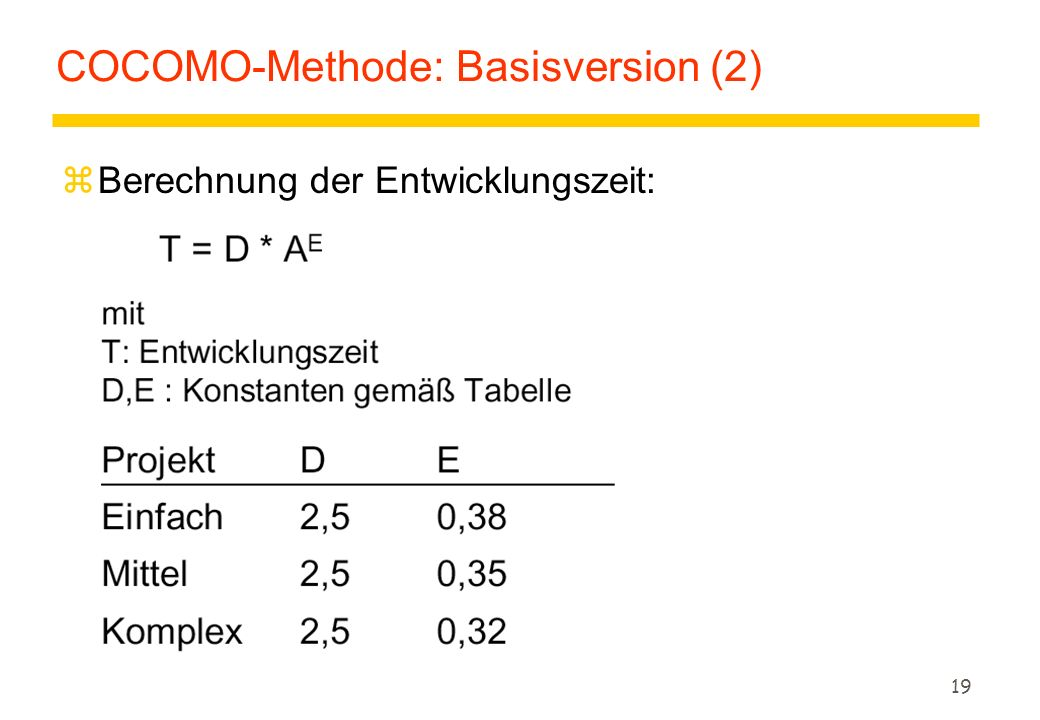 COCOMO-Methode: Basisversion (2)