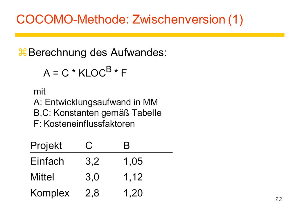 COCOMO-Methode: Zwischenversion (1)