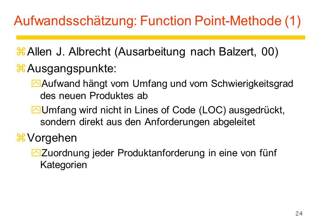 Aufwandsschätzung: Function Point-Methode (1)