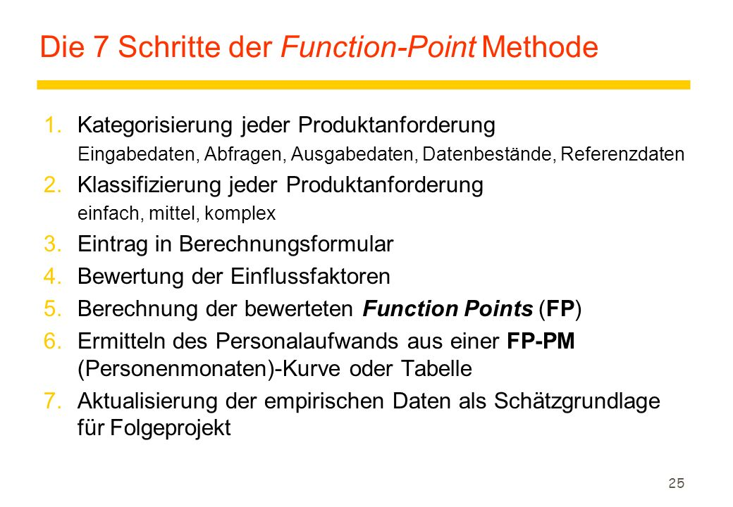 Die 7 Schritte der Function-Point Methode
