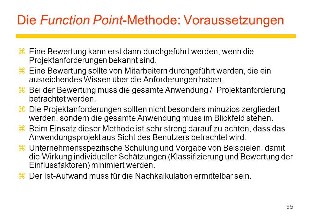 Die Function Point-Methode: Voraussetzungen